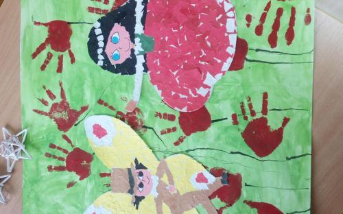 Společná práce dětí na výstavu Večerníčků v Telči